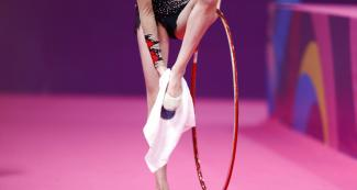 Argentinian Sol Feinberg competing in individual rhythmic gymnastics at Villa El Salvador Sports Center at the Lima 2019 Games