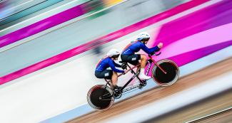 USA's Wendy Werthaiser and her pilot Jennifer Sharp going at full speed in the Para cycling track competition at the National Sports Village – VIDENA, Lima 2019