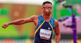 Brazilian Agnaldo Da Silva in action during the men's 100m T13 final at the National Sports Village – VIDENA, Lima 2019