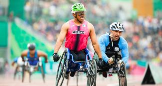 Para athlete Pedro Gandarilla from Mexico celebrates gold in the Lima 2019 men's 1500 m T54 competition at the National Sports Village - VIDENA