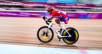 Jorge Gonzales from Cuba in the men's individual pursuit C1-3 competition at the National Sports Village – VIDENA, Lima 2019