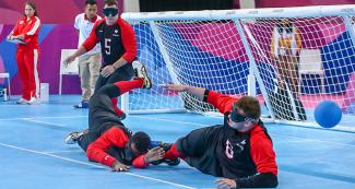 Canadian men's goalball match for the bronze vs. Venezuela at the Callao Regional Sports Village.