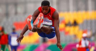 Willia Rivero from Cuba jumps during the men's decathlon competition at the Lima 2019 Pan American Games, at the National Sports Village –VIDENA