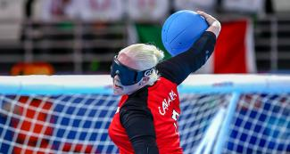 Canadian Amy Burk vs. Mexico during Lima 2019 women's goalball competition at the Callao Regional Sports Village.