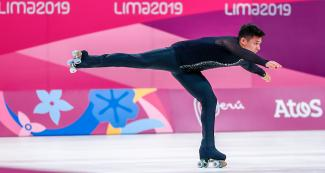 Chilean athlete Jose Luis Diaz performs an artistic roller skating exhibition