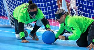 Mexican Karen Rodriguez and Tania Jimenez during Lima 2019 women's goalball match at the Callao Regional Sports Village.
