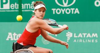 Dana Mathewson from the USA competes against her compatriot Emmy Kaiser in Lima 2019 wheelchair tennis event at the Club Lawn Tennis