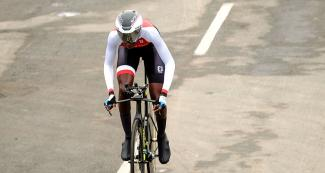 Teniel Campbell finished in second place in the Lima 2019 time trial event at Costa Verde San Miguel