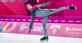 Argentinian athlete Juan Sánchez competing in artistic roller skating