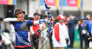 Andrés Aguilar Gimpel from Chile aiming with his recurved bow at the Villa María del Triunfo Sports Center, Lima 2019 Games