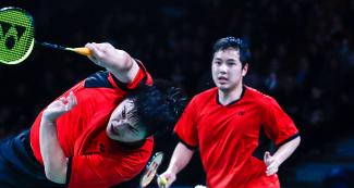 Phillip Chew and Ryan Chew from the United States face Canada in men's doubles badminton event held at the National Sports Village - VIDENA at the Lima 2019 Pan American Games