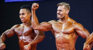 The Salvadorian William Yuri Rodríguez González and the Guatemalan Jonathan Martinez Catalan participating in the Lima 2019 classic bodybuilding event held at the Chorrillos Military School