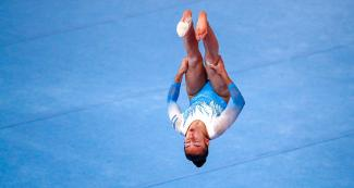 Argentinian gymnast Abigail Magistrati during the artistic gymnastics floor exercise competition at the Villa El Salvador Sports Center Título: Argentinian gymnast Abigail Magistrati during her floor exercise performance at Lima 2019