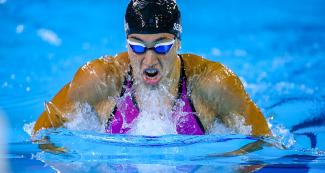 ulia Sebastián from Argentina competing in the Lima 2019 women's 200m breaststroke at the National Sports Village – VIDENA