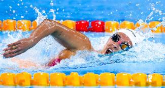 Argentinian Delfina Pignatiello competing in the Lima 2019 women's 800 m freestyle at the National Sports Village – VIDENA