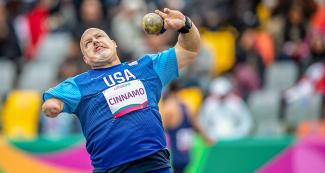 American Para athlete Joshua Cinnamo competes in the men's shot put final F46 at the National Sports Village – VIDENA at Lima 2019
