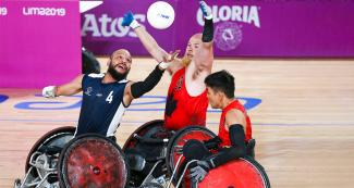 John Orozco from Colombia vs. Zachary Madell from Canada in mixed wheelchair rugby at the Villa El Salvador Sports Center, Lima 2019