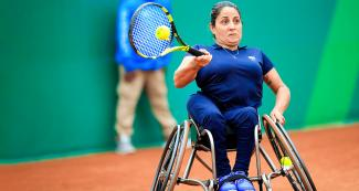 Brazil's Rejane Candida faces off Argentina's Nicole Dhers in wheelchair tennis at the Lawn Tennis Club