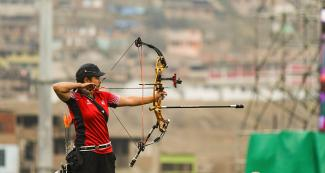 Erin Lameg of Canada participates in the Lima 2019 archery event at the Villa María del Triunfo Venue