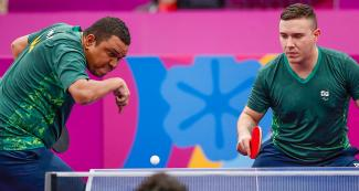 Paulo Salmin and Franciso Melo from Brazil face off the US in Lima 2019 Para table tennis team competition, held at the National Sports Village - VIDENA
