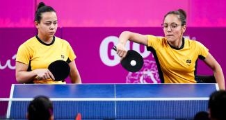 Joyce de Oliveira and Merliane Santos from Brazil during Lima 2019 Para table tennis team competition against Mexico at the National Sports Village - VIDENA