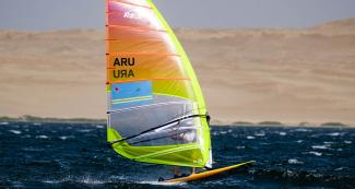 Mack van den Eerenbeemt of Aruba participates in the Lima 2019 men's windsurf competition at the Paracas Bay