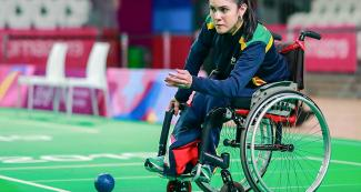 Brazil's Natali de Faria competing in individual BC2 boccia match at the Villa El Salvador Sports Center in Lima 2019