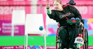 Canada's Allison Levine during individual BC4 boccia match at the Villa El Salvador Sports Center in Lima 2019
