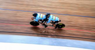 Colombia's Nelson Serna and his pilot Marlon Perez competing in Para cycling track at the National Sports Village – VIDENA, Lima 2019