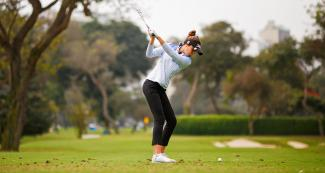 Jimena Garcia from Uruguay competes in Lima 2019 Games golf match held at the Lima Golf Club.