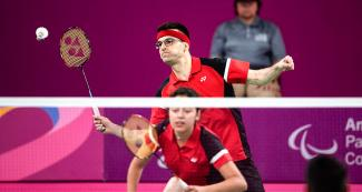 Pascal Lapointe and Olivia Meier from Canada giving their best during Para badminton final match at the Lima 2019 Parapan American Games.