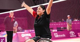 Peruvian Para athlete Pilar Jáuregui celebrates winning gold in Lima 2019 women's Para badminton WH2 at the Villa El Salvador Sports Center.