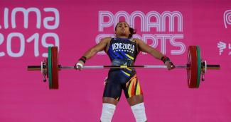 Genesis Rodríguez from Venezuela in the 55-kg weightlifting competition held at the Chorrillos Military School at Lima 2019.
