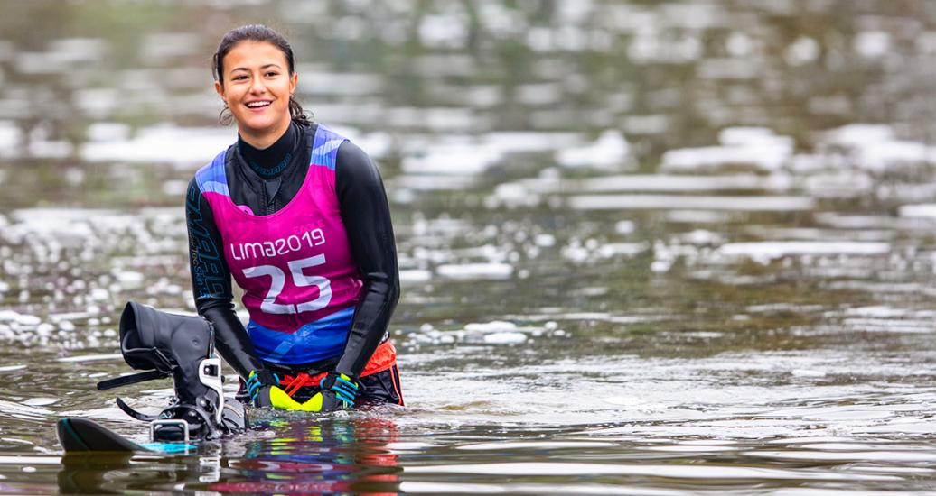 Daniela Verswyve smiles after the water ski competition