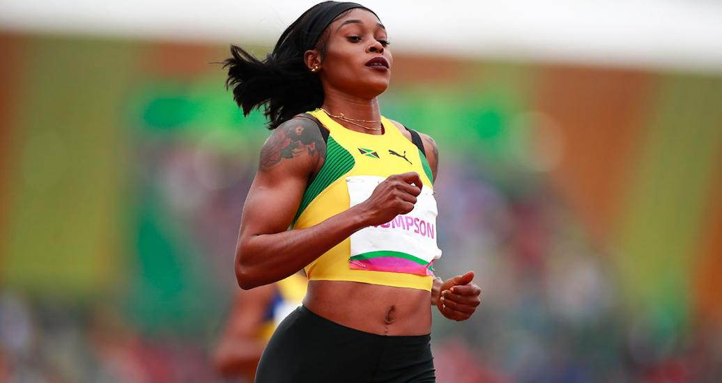 Athlete Elaine Sandra Lee from Jamaica runs in the 100 m women's semifinals at the Lima 2019 Pan American Games at the National Sports Village –VIDENA