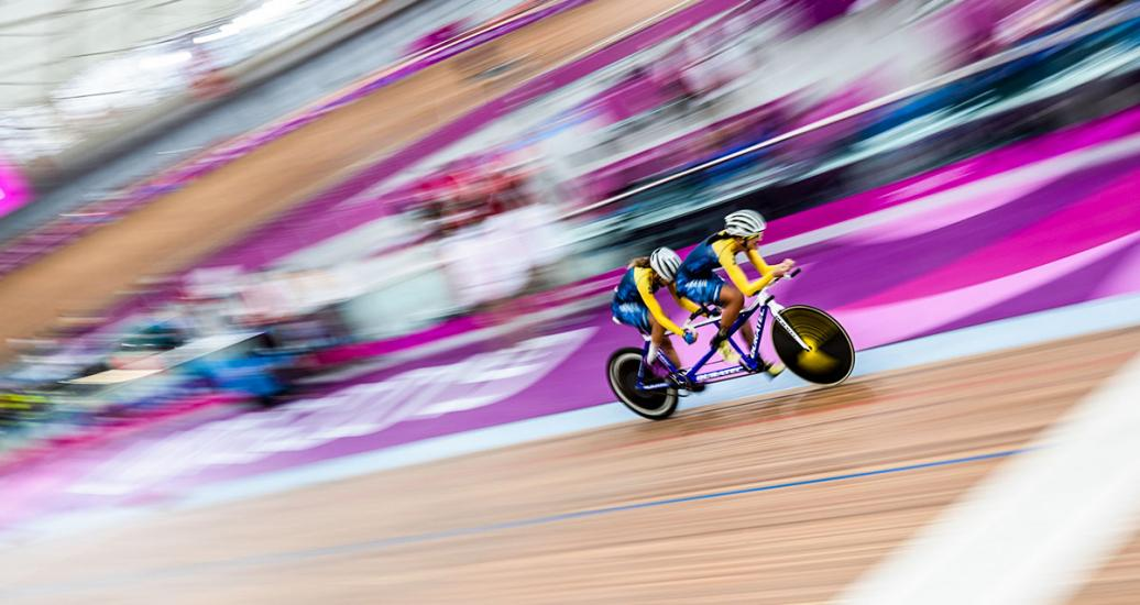 Brazil's Marcia Ribeiro and her pilot Cristiane Pereira at full speed at the Para cycling track competition at the National Sports Village – VIDENA, Lima 2019