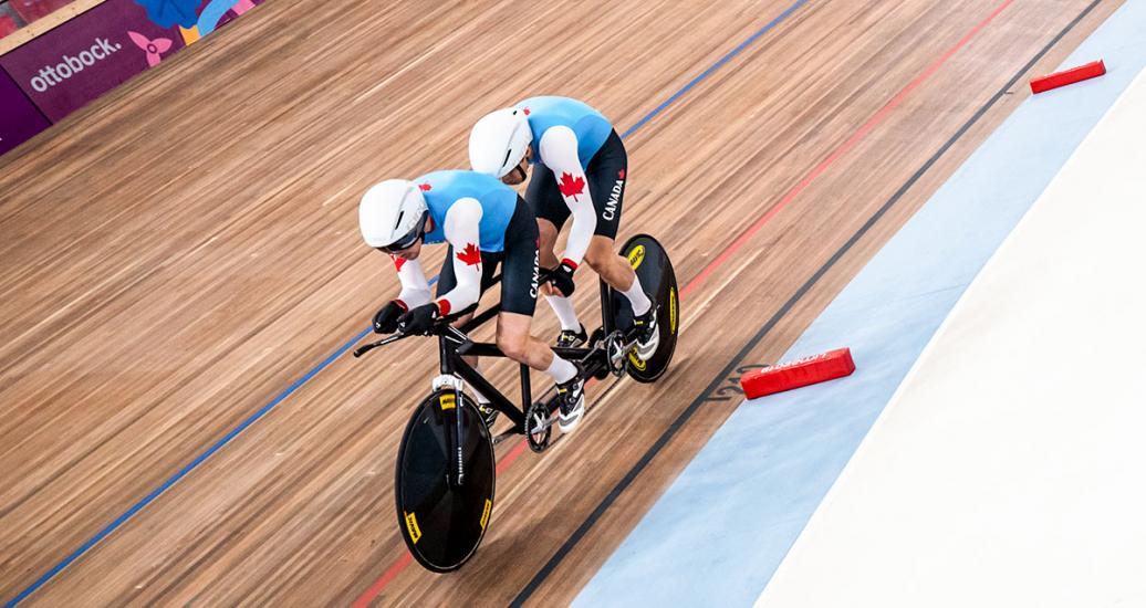 Lowell Taylor and his pilot Andrew Davidson in action during the Para cycling track competition at the National Sports Village – VIDENA, Lima 2019