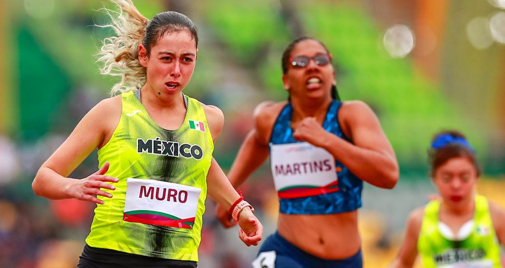 Lucia Muro from Mexico running in the women's 100m T38 competition at the National Sports Village – VIDENA, Lima 2019