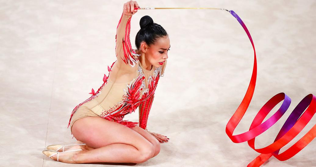 Gymnast Rut Castillo in the ribbon event at the Villa El Salvador Sports Center in the Lima 2019 Games