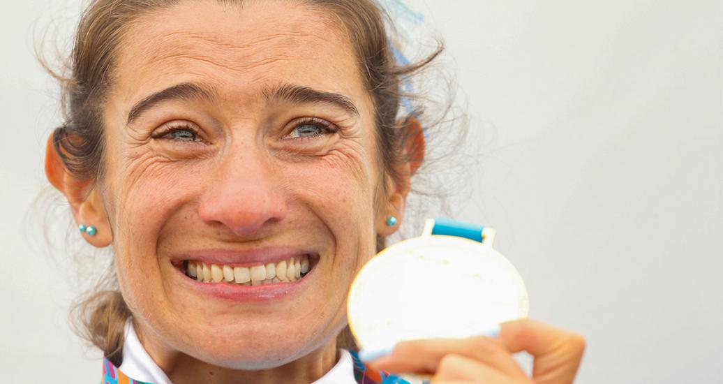 Argentinian Sabrina Ameghino cries after receiving the gold medal in canoe sprint competition at Lima 2019