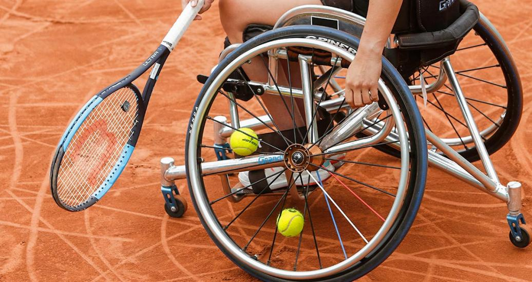 Dana Mathewson from the U.S. competing in Lima 2019 wheelchair tennis event at the Club Lawn Tennis