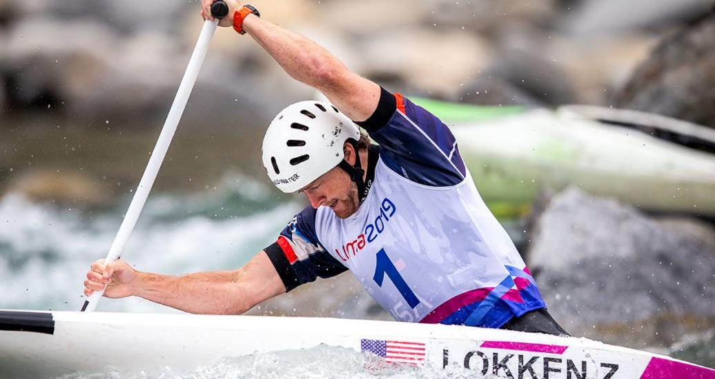American athlete Zachary Lokken competing at the men's C1 canoe event in Río Cañete - Lunahuana