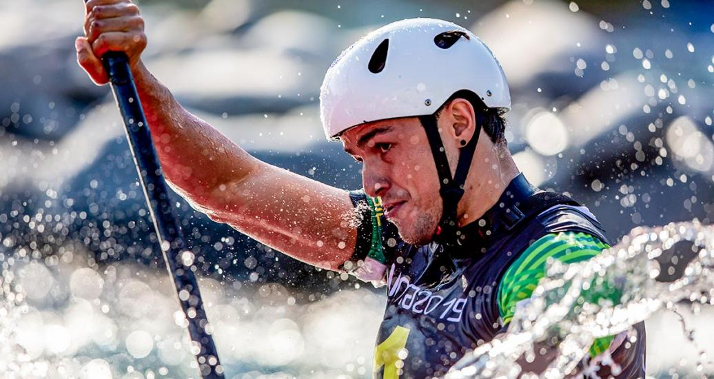 Brazil's Pedro Goncalves competing at the men's K1 extreme slalom in Río Cañete - Lunahuana
