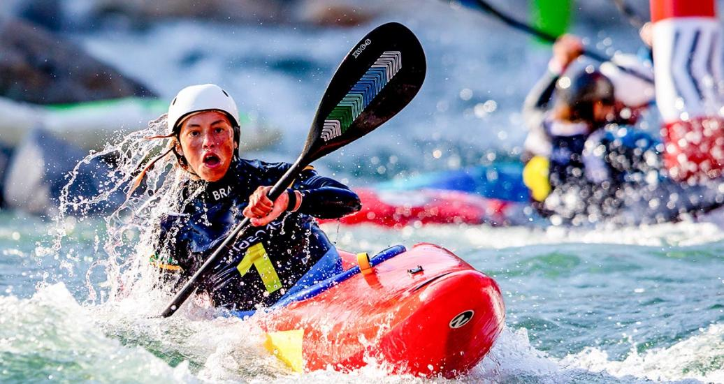 Brazil's Ana Satila competing at the women's K1 extreme slalom in Río Cañete - Lunahuana