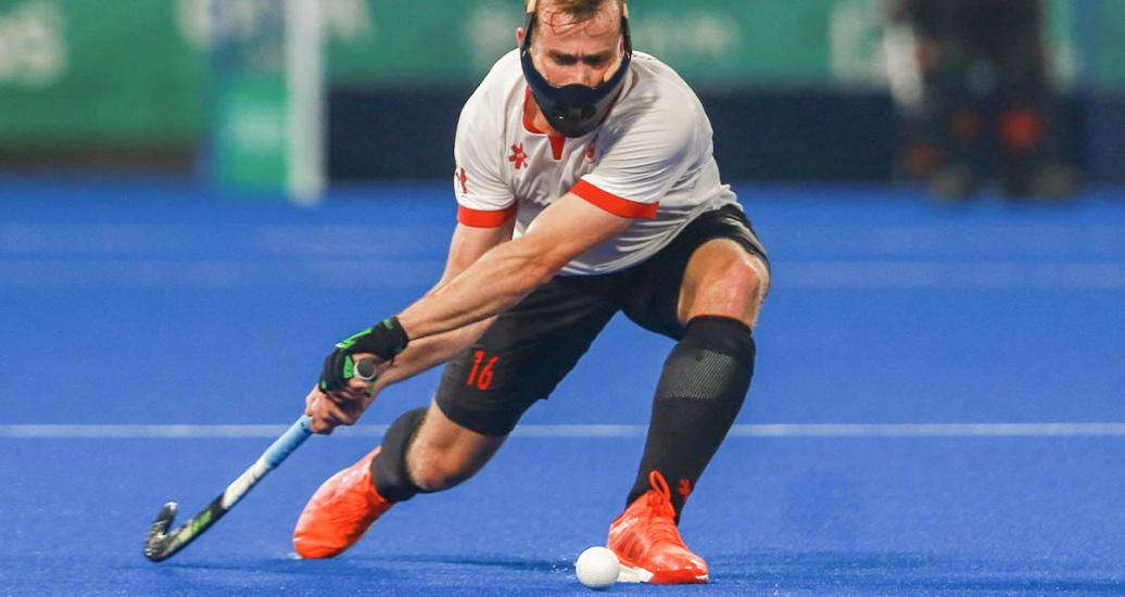 Canadian Gordon Johnston hits the ball during the game against Chile at Villa María del Triunfo Sports Center, Lima 2019 Games