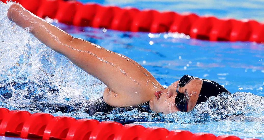 Peru's Dunia Felices competes in the women's 200m freestyle S5 Para swimming event at Lima 2019 at the National Sports Village – VIDENA.