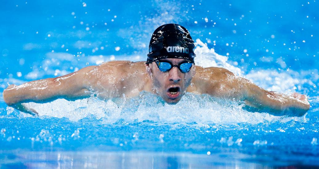 Argentina's Elian Araya competes in the 200m individual medley SM14 Para swimming event at Lima 2019 at the National Sports Village – VIDENA.
