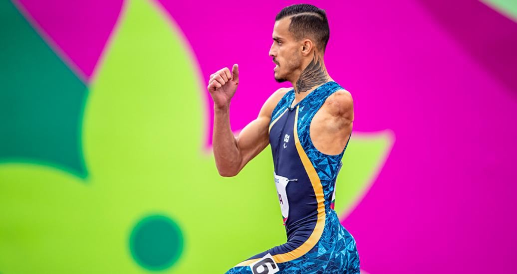 Brazilian Para athlete Lucas Lima competes in the men's 400m T47 at the National Sports Village – VIDENA at Lima 2019