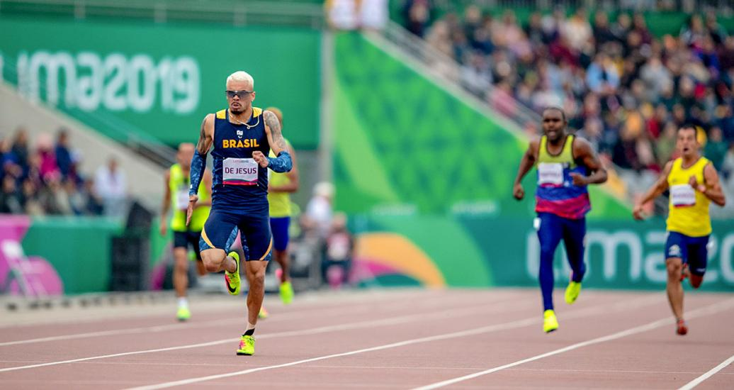 Brazilian Vitor Antonio de Jesus competes in the Para athletics 400m T47 final at the National Sports Village – VIDENA at Lima 2019