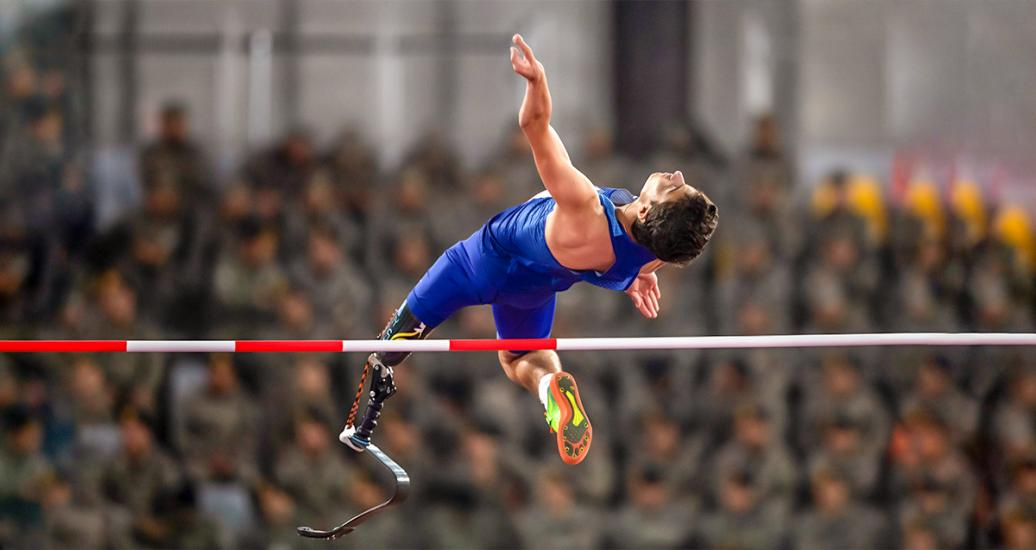 American Ezra Frech up in the air during the Para athletics men's high jump T42-47/T63-64 competition held at the National Sports Village – VIDENA at Lima 2019